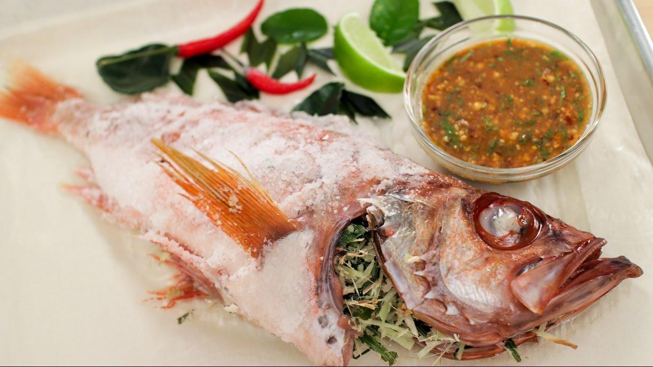 salt crusted fish recipe hot thai kitchen recipes videos - Hot Thai Kitchen